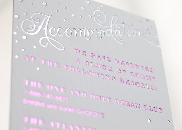 Letterpress direction and accommodation cards from bella figura filmwisefo Choice Image