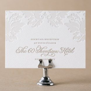 Damask letterpress + foil stamped reception cards from Bella Figura