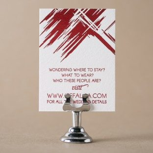 Red foil stamped website card featuring the Fugue design from Bella Figura