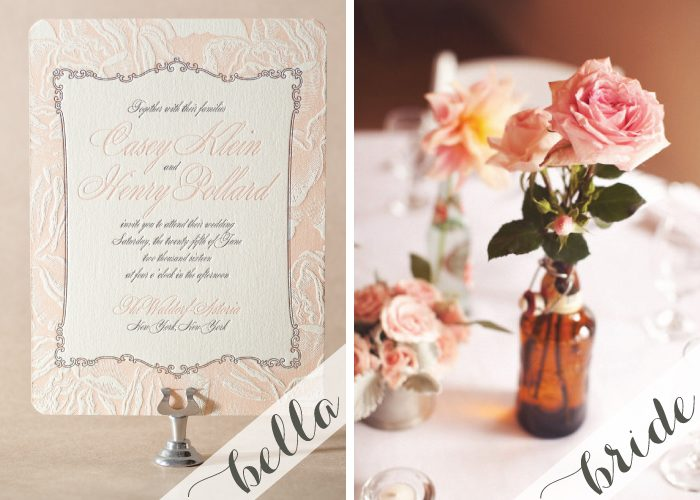 Vintage rose letterpress wedding invitations by Bella Figura