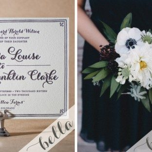 Modern Black Letterpress Wedding Invitations by Bella Figura