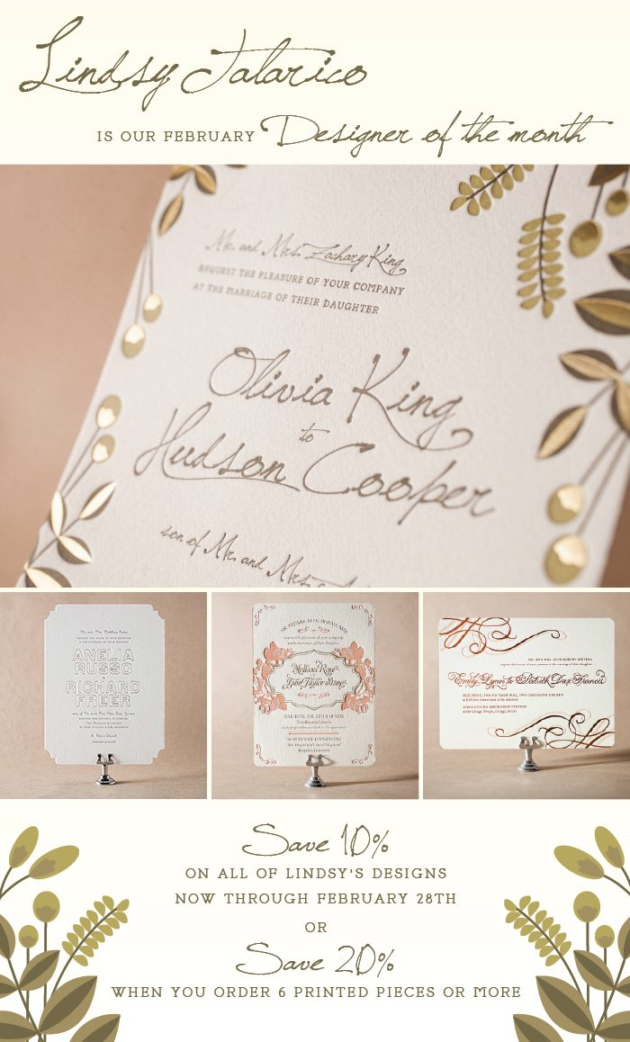 Letterpress sale: invitations from Bella Figura on sale during the month of February 2014 - designs by Lindsy Talarico on sale for up to 20% off through 2/28