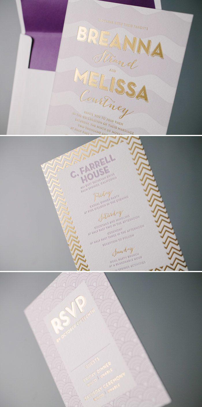 Purple and Gold Wedding Invitation Inspiration by Bella Figura