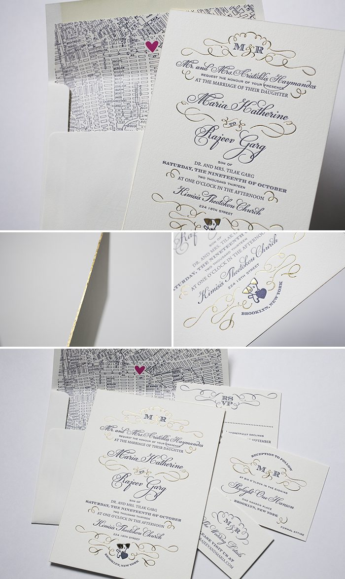 Ultra Glamorous Traditional Script wedding invitations from Bella Figura
