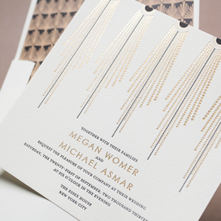 Bejeweled letterpress & foil stamped wedding invitations