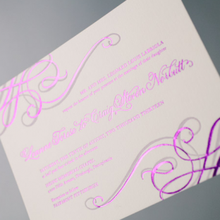 Purple shine foil stamped Illuminer wedding invitations from Bella Figura