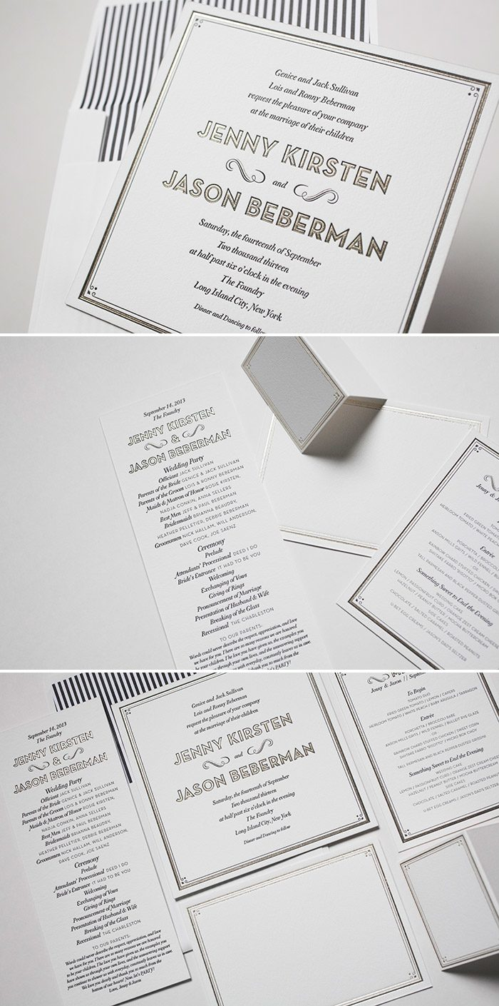 True Vintage letterpress and foil wedding invitations from Bella Figura