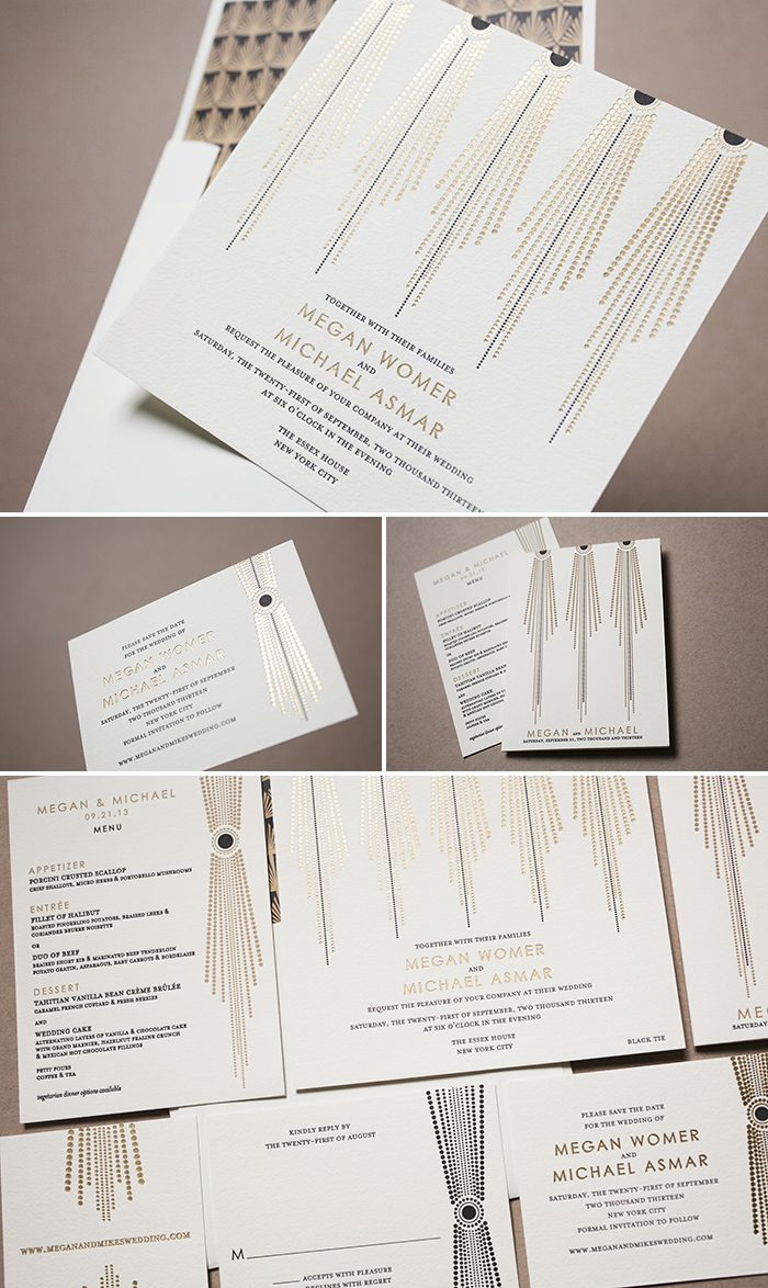 Bejeweled Wedding Invitations in Gold Matte Foil and Black Letterpress by Bella Figura