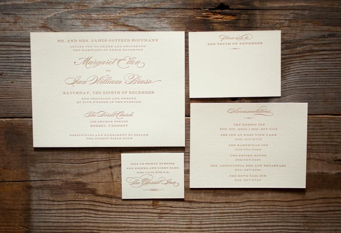 Deveril letterpress wedding invitations