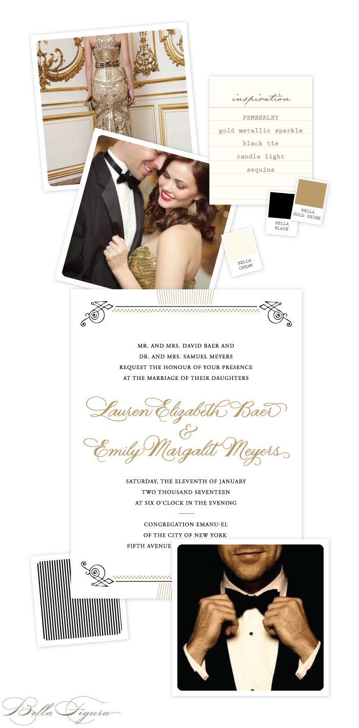 Set the tone for a glamorous vintage wedding with Ellie Snow's Pemberley wedding invitations - complete with gold foil + hand calligraphy accents by Sarah Hanna.