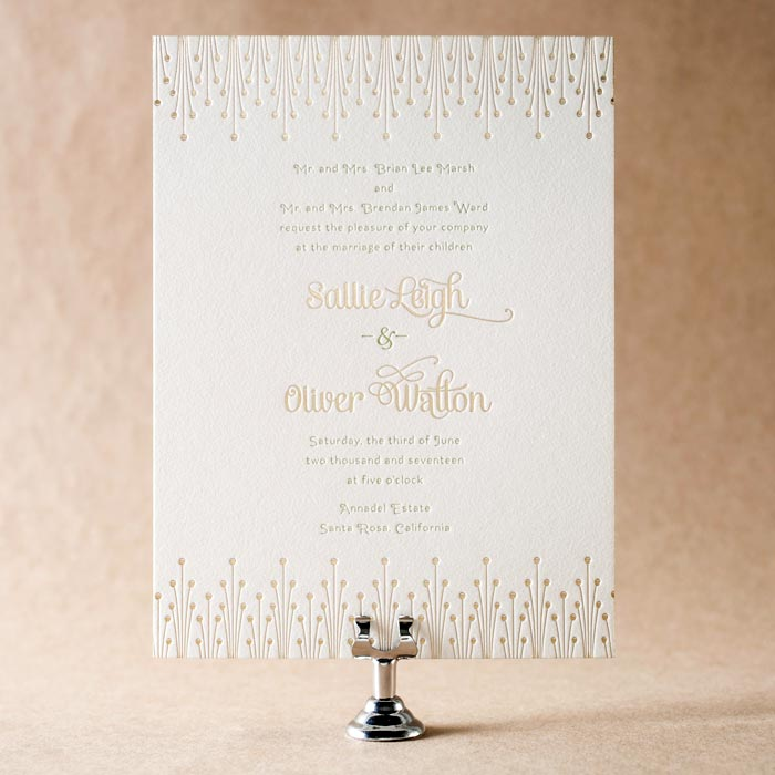 Annadel letterpress & foil stamped wedding invitations from Bella Figura