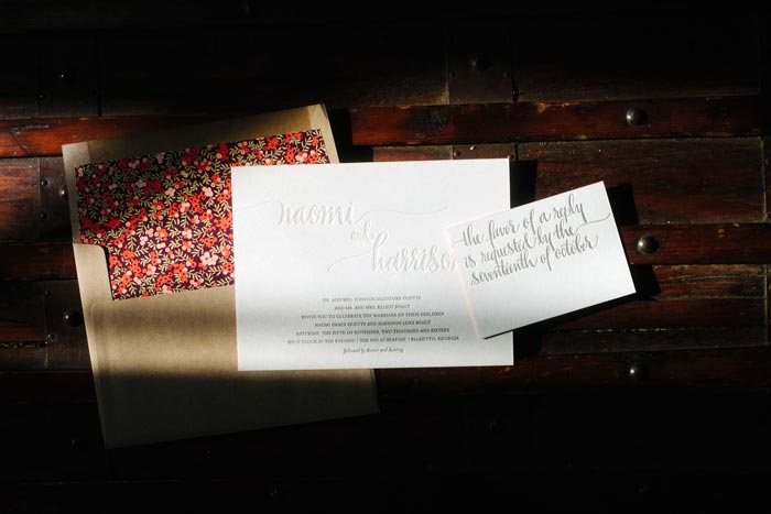 Colette, a Bella Figura letterpress wedding invitation featuring Kelle McCarter's Maura hand calligraphy accents