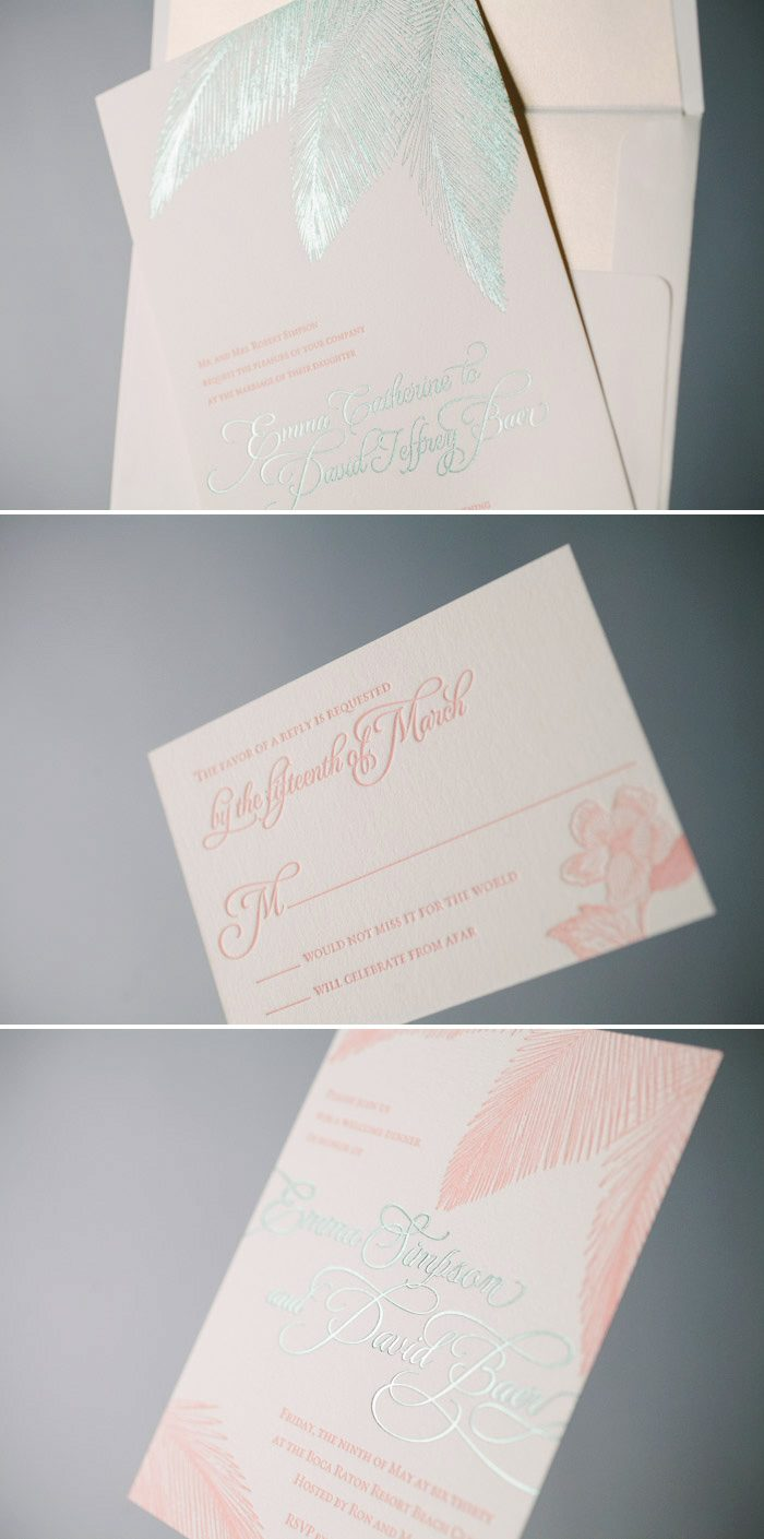 Traditional Palm beach wedding invitations