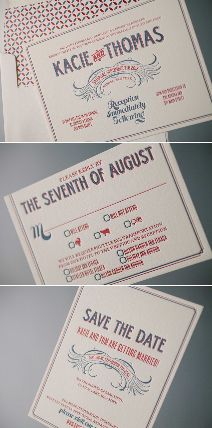Retro Meets Rustic Letterpress Wedding Invitation | Bella Figura