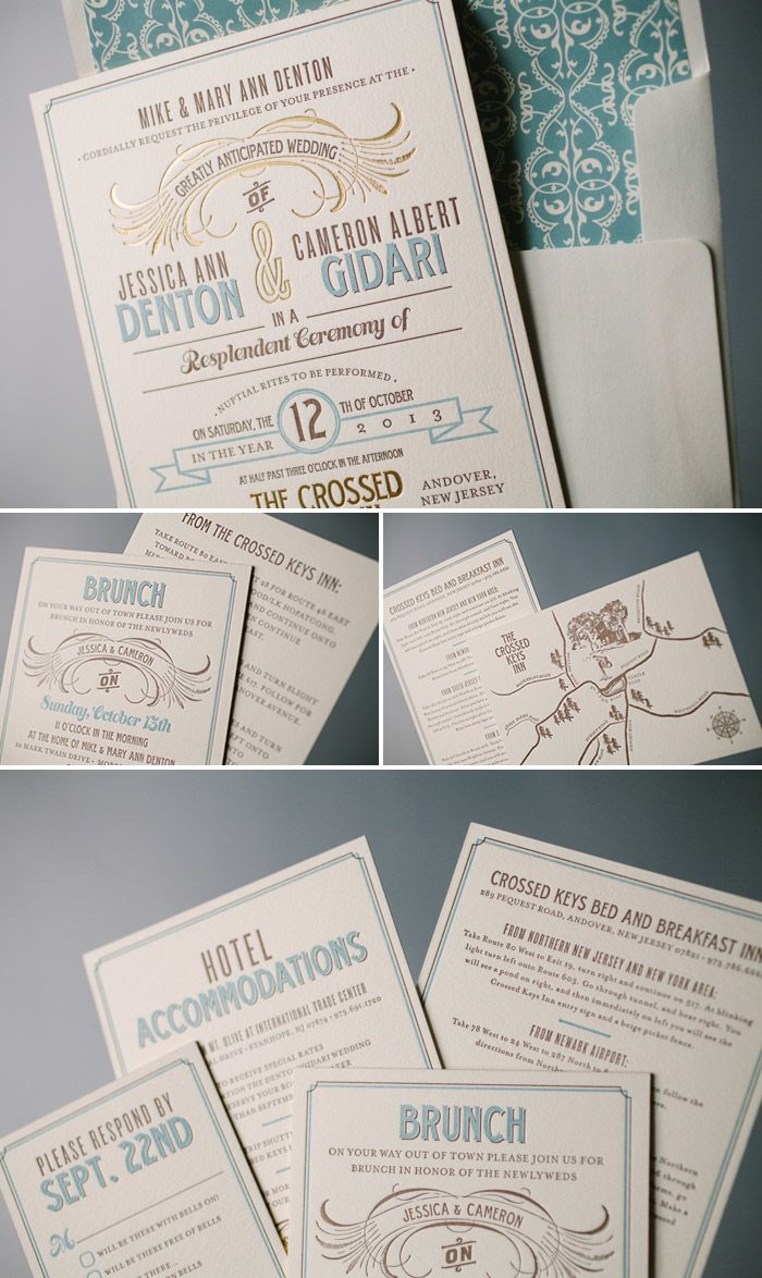 Retro-cool Tara letterpress and foil wedding invitations | Bella Figura