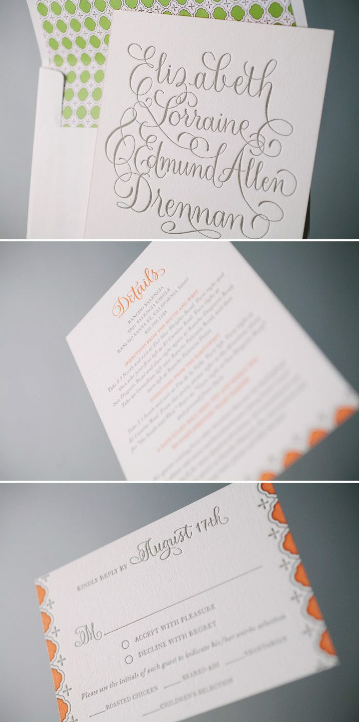 Mosaic Tile Inspired Letterpress Wedding Invitations | Bella Figura