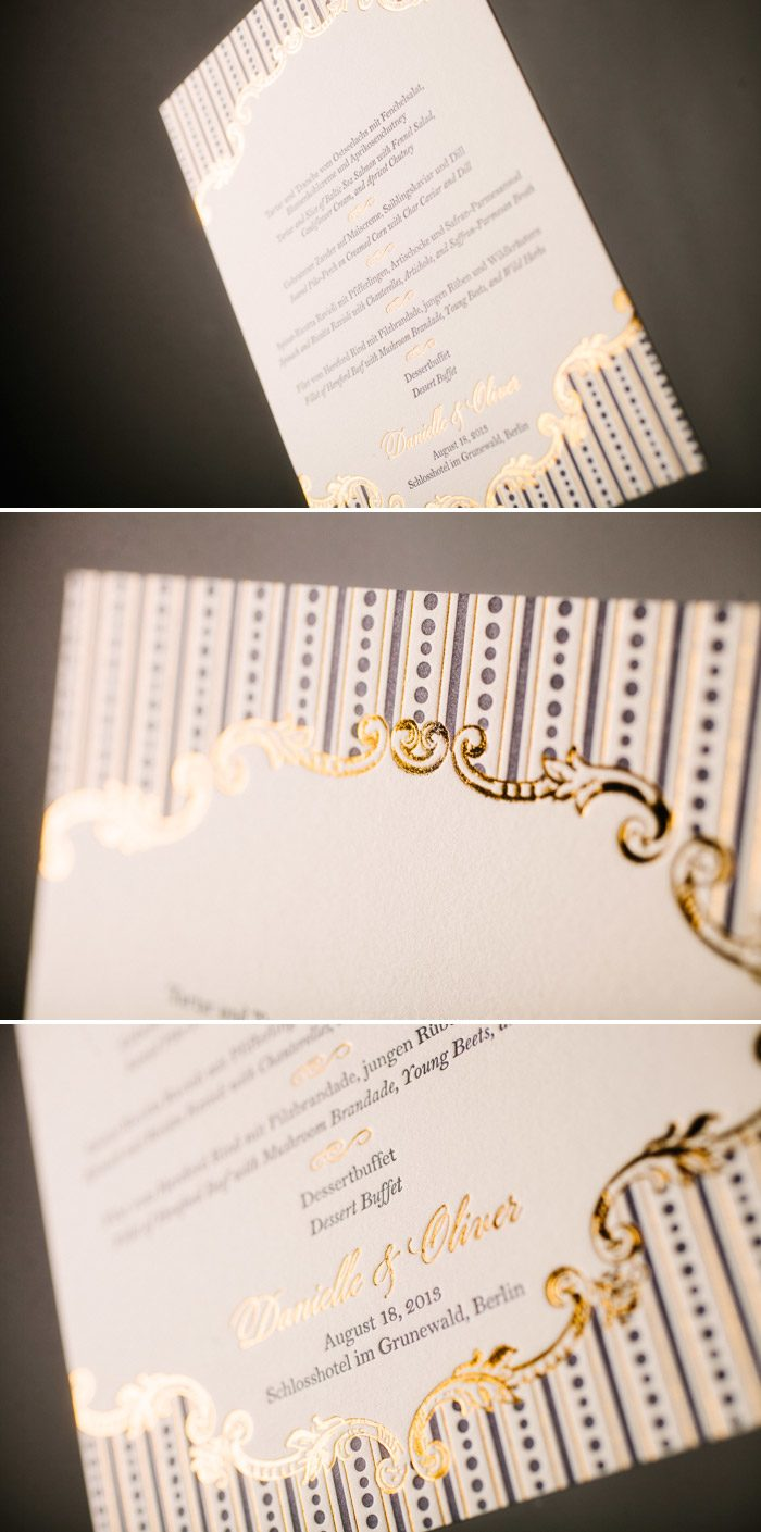 Letterpress and Foil Stamped A Bientot Menus by Bella Figura