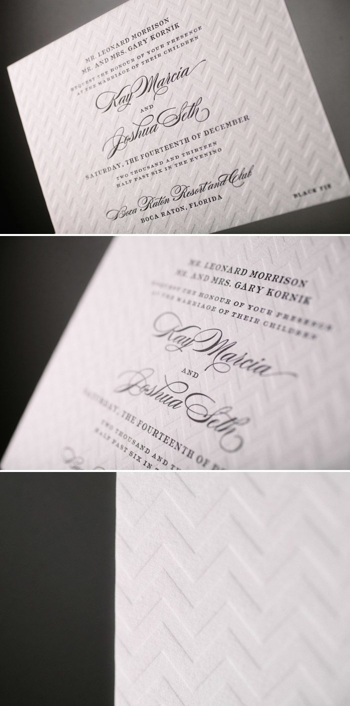 An unexpected pairing of polish and panache: Deveril letterpress wedding invitations