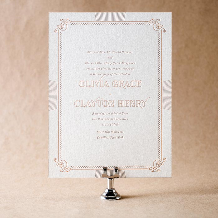 Pemberley letterpress & foil stamped wedding invitations from Bella Figura