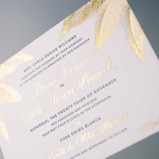 Gold foil destination wedding invitations by Bella Figura