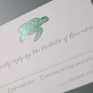 Letterpress and foil stamped Beach wedding invitations by Bella Figura