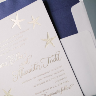 Foil Stamped Starfish Wedding Invitations by Bella Figura