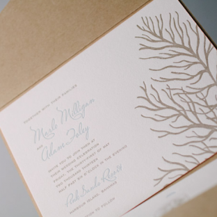 Beach Inspired Letterpress Wedding Invitations by Bella Figura