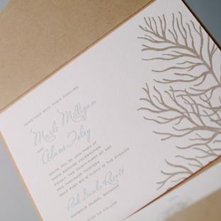 Beach Inspired Letterpress Wedding Invitations by Bella Figura