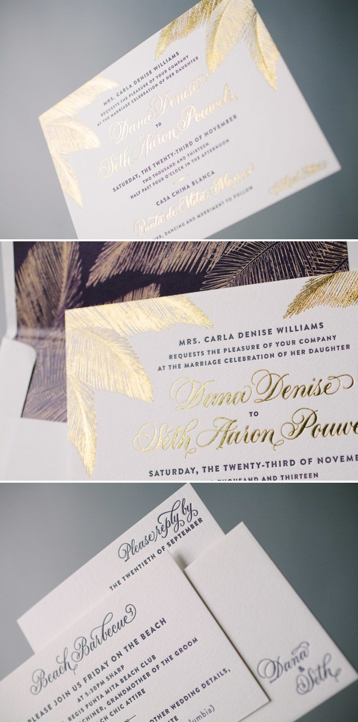 Gold foil destination wedding invitations by Bella Figura