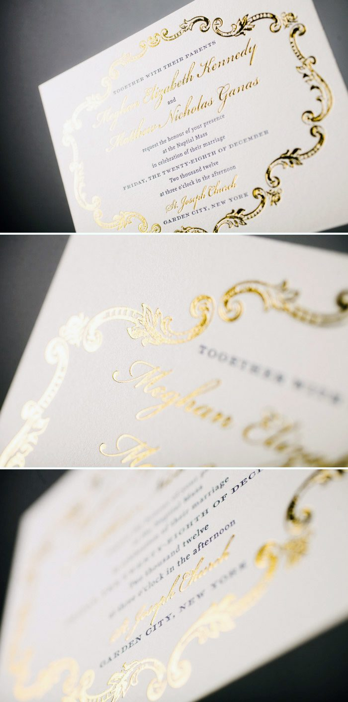 A Bientot wedding invitations in Dazzling Gold Shine