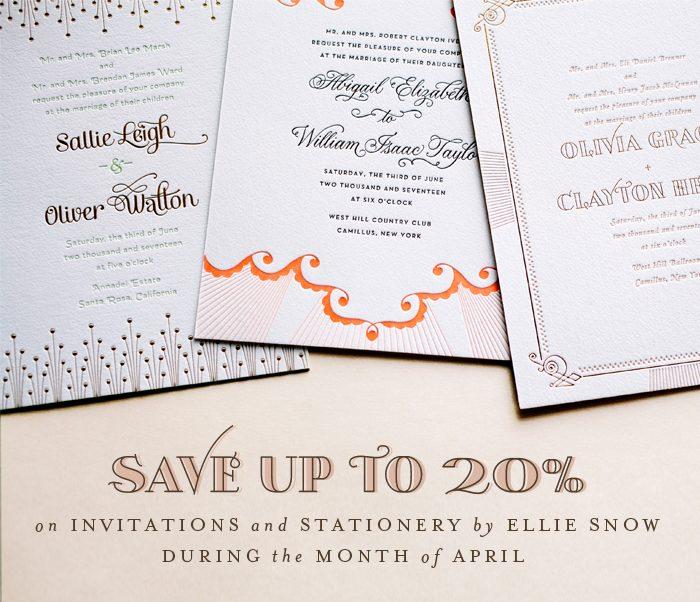 Bella Figura Invitations by Ellie Snow are on sale through the month of April 2014! Shop now