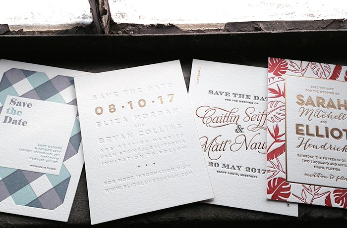 Letterpress + foil stamped save the dates
