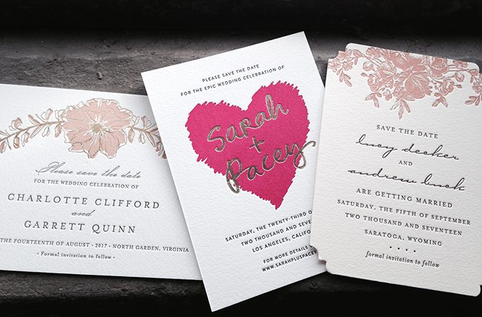 Splurge letterpress + foil stamped save the dates