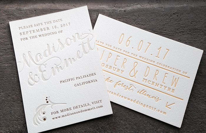 Petite letterpress + foil stamped save the dates