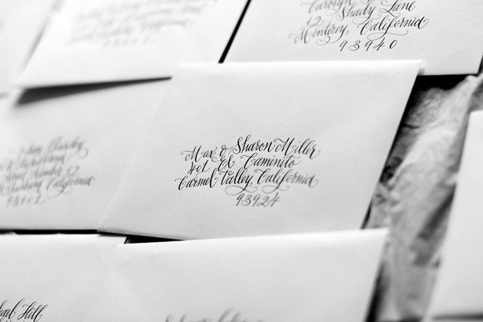 Hand calligraphed envelopes from Bella Figura calligrapher Kelle McCarter
