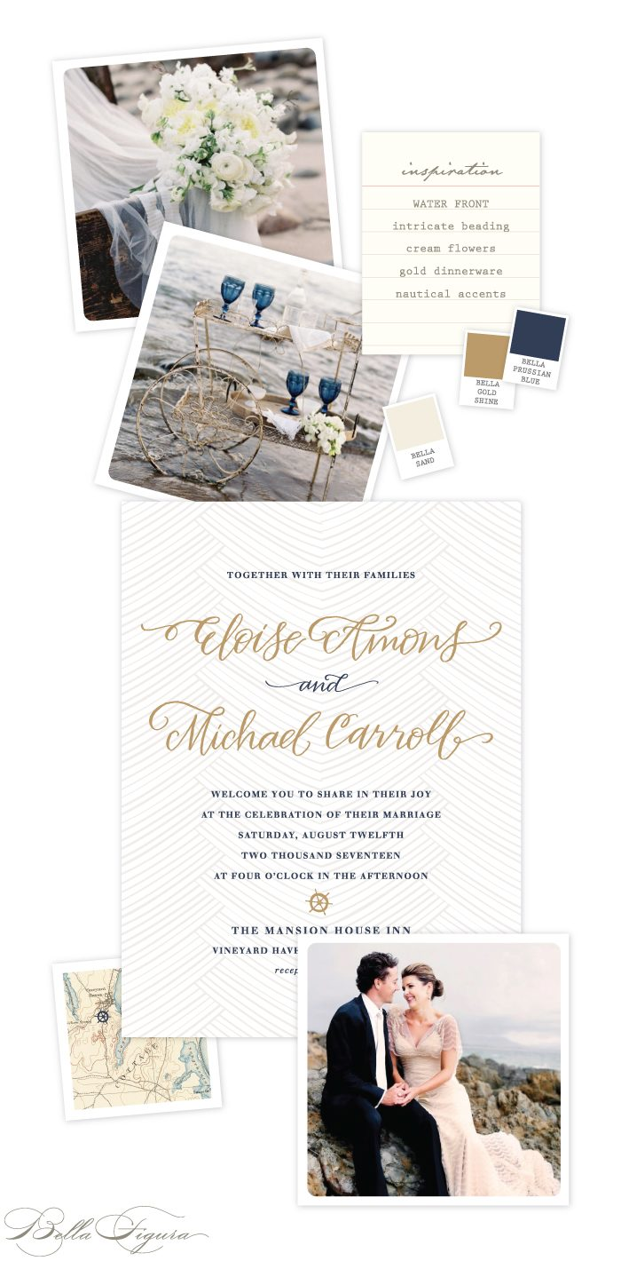Waterfront wedding invitation customization from Bella Figura