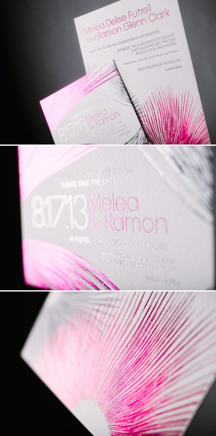 Glamorous Blooms wedding invitations