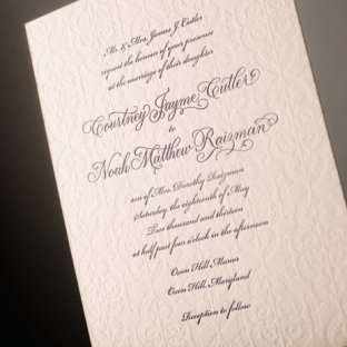 Romantic Letterpress Wedding Invitations by Bella Figura