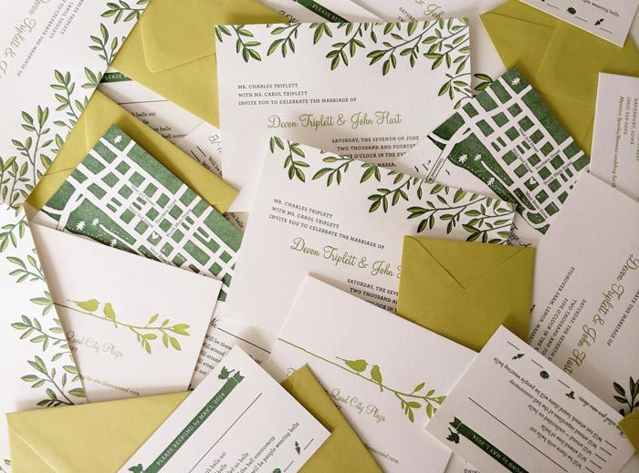 Wedding invitations from Ellie Snow's invitation line, Hello Tenfold
