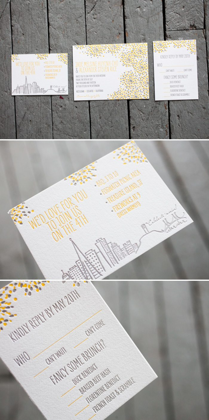 Modern Fete wedding invitations