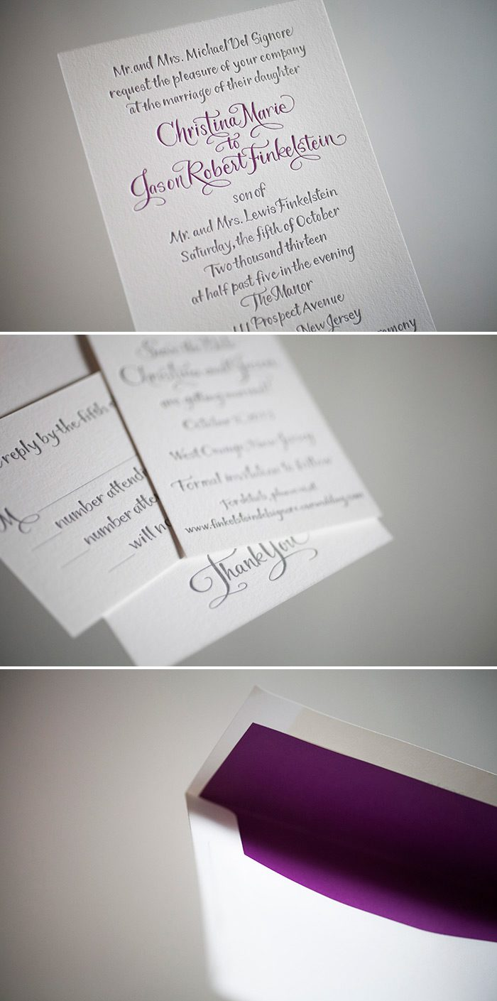 Modern letterpress calligraphy wedding invitations by