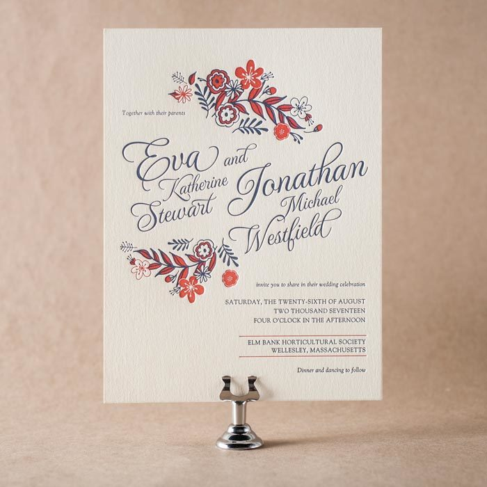 Maura Gauthier's Folk Floral letterpress invitation for Bella Figura