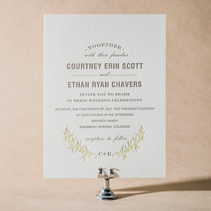 Branch letterpress wedding invitations by Maura Gauthier for Bella Figura