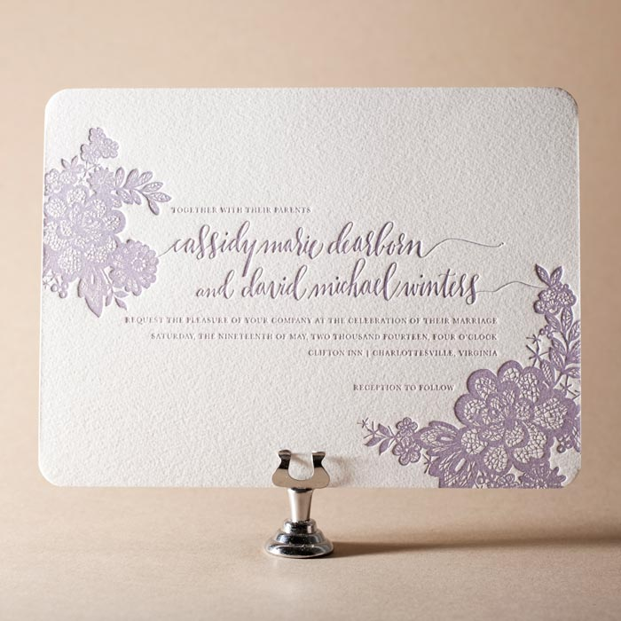 Lace letterpress wedding invitations by Maura Gauthier for Bella Figura on sale through 5/31/14