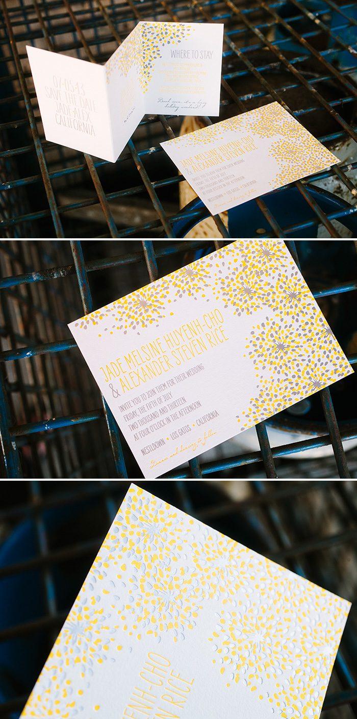 Modern Fete wedding invitations