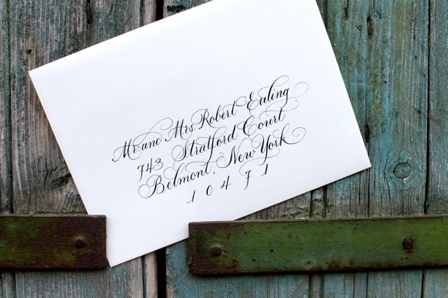 Blue Danube style hand calligraphed envelopes by Bella Figura calligrapher Sarah Hanna