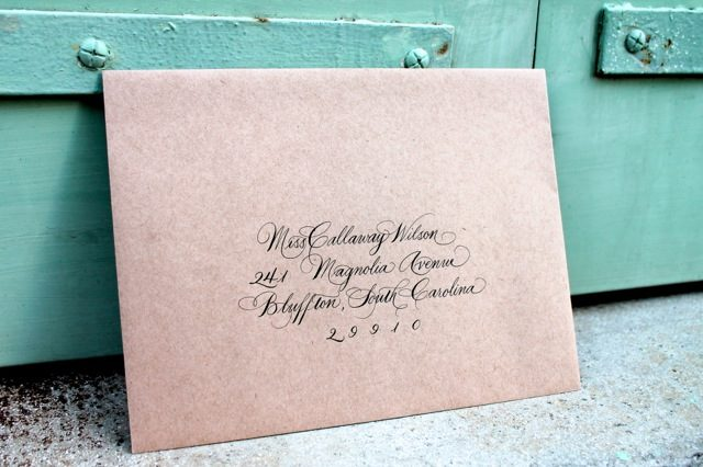Callaway styled hand calligraphed envelopes by Bella Figura calligrapher Sarah Hanna