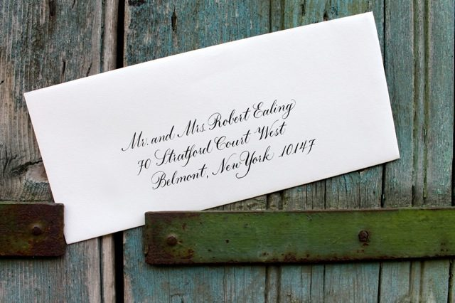 London Script hand calligraphed envelopes by Bella Figura calligrapher Sarah Hanna