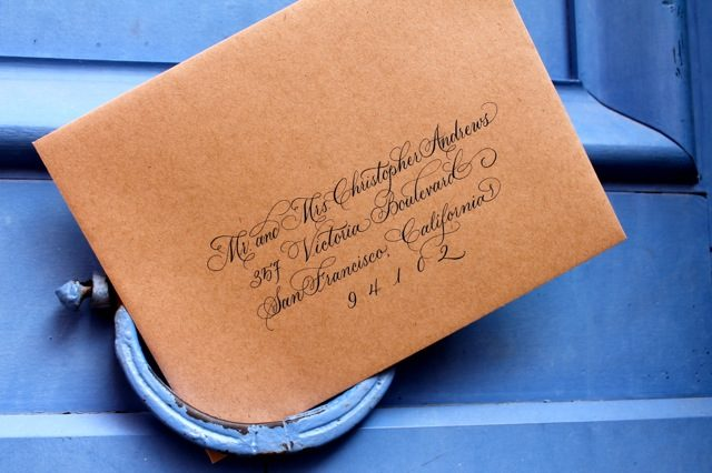 Calligraphed envelopes from Bella Figura calligrapher Sarah Hanna, featuring Victoria, her most popular style
