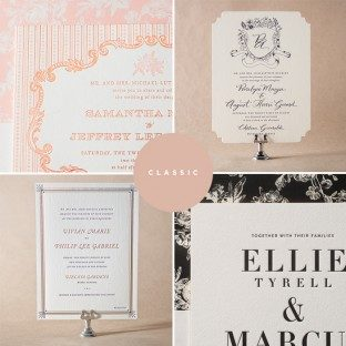 On sale now: classic + vintage letterpress wedding invitations by Jessica Tierney for Bella Figura